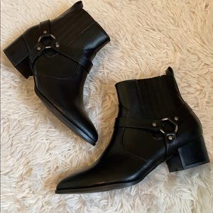 NWOT H Halston pointed toe harness boots